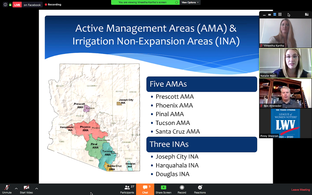 ADWR's Manager of the Management Plans Work Group Natalie Mast discusses Arizona's Active Management Areas and Irritation Non-Expansion Areas.