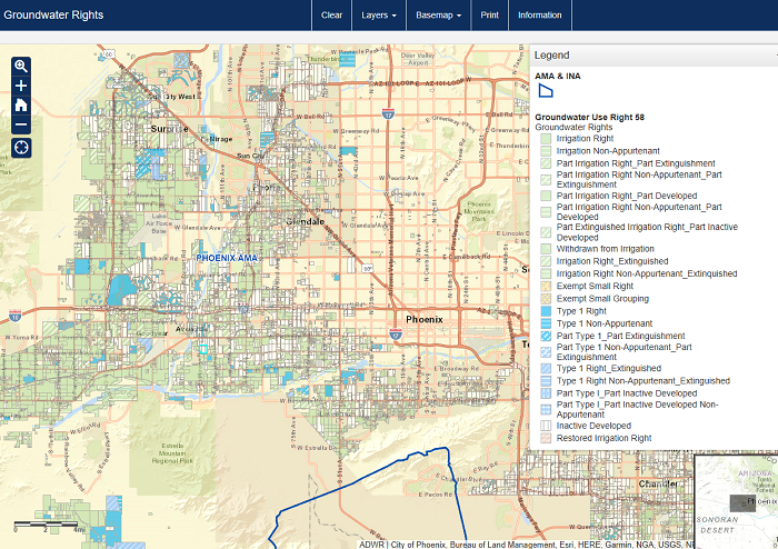 Interactive tool for searching groundwater-rights