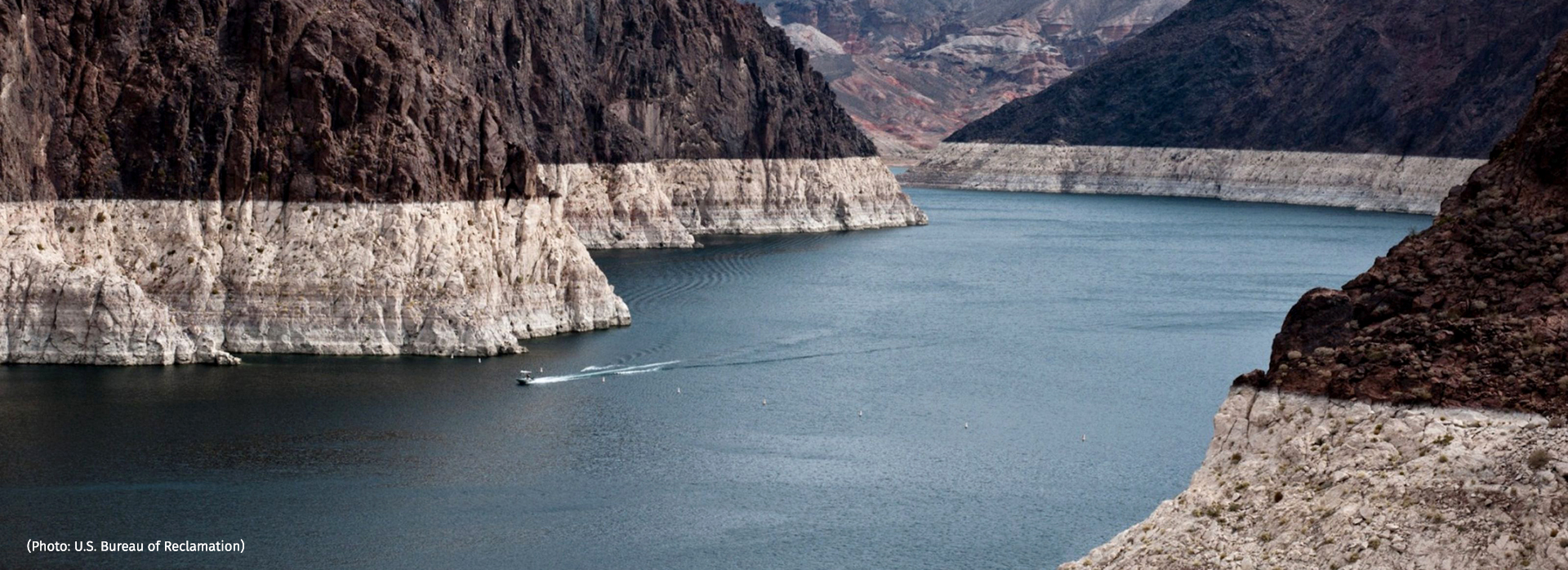 "Surface-water depletion in the Colorado River Basin has left this ""bathtub ring"" of mineral deposits on Lake Mead, but groundwater loss is invisible. (Photo: U.S. Bureau of Reclamation)"