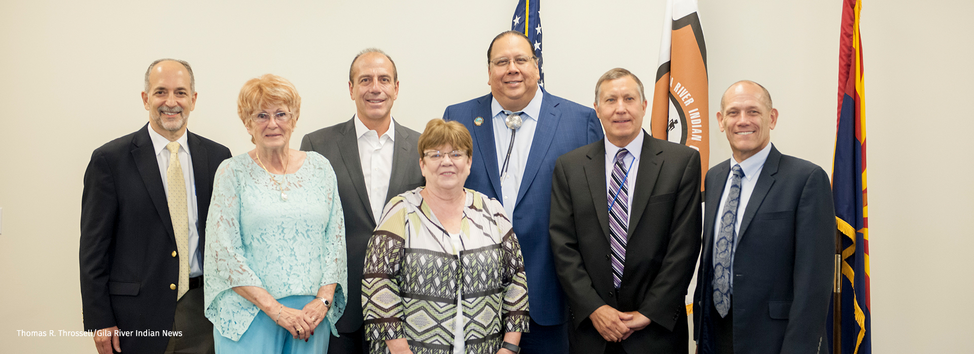 Representatives of the organizations signing the water-conservation agreement, from left: Barry Gold of the Walton Family Foundation; Phx Council members Thelda Williams, Sal DiCiccio & Debra Stark; Gila River Indian Community Gov. Stephen Roe Lewis