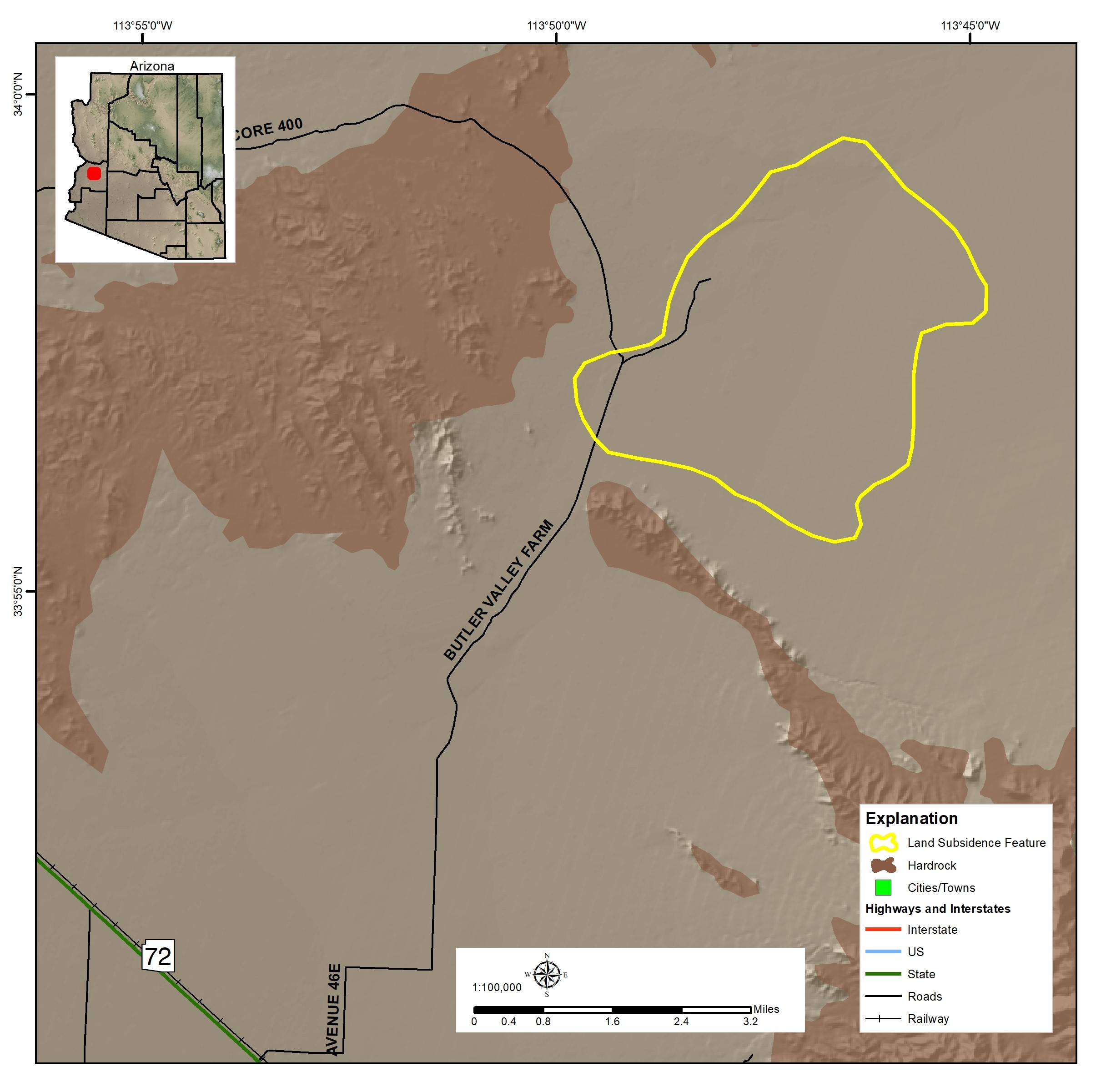 Butler Valley Land Subsidence Map