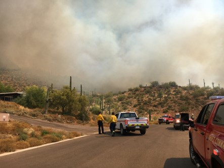 """Eastern Desert Fire – est. 300 – 500 acres, winds pushing fire through veg and into drainage. Fire burning in North Phoenix near 24th Street and Desert Hills. May 17, 2020"" photo courtesy of Arizona Department of Forestry and Fire Management"