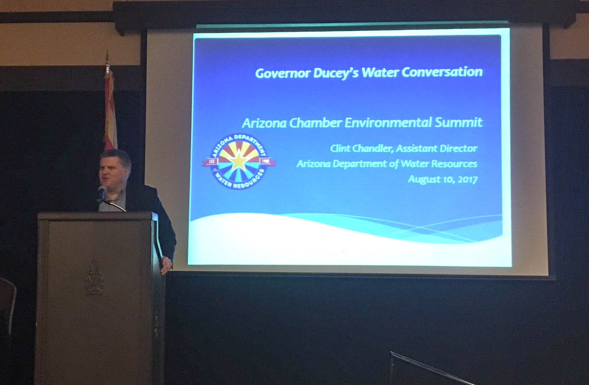 Assistant Director Clint Chandler presenting on water conservation
