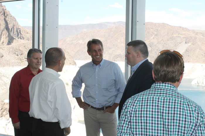 Arizona U.S. Sen. Jeff Flake (center) with Robert Skordas (left) of the Bureau of Reclamation, Bureau of Reclamation Regional Director Terry Fulp and Arizona Department of Water Resources Assistant Director Clint Chandler.