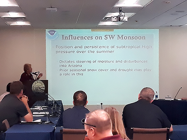 Arizona State Climatologist Nancy Selover discussing the influences on the upcoming SW monsoon season