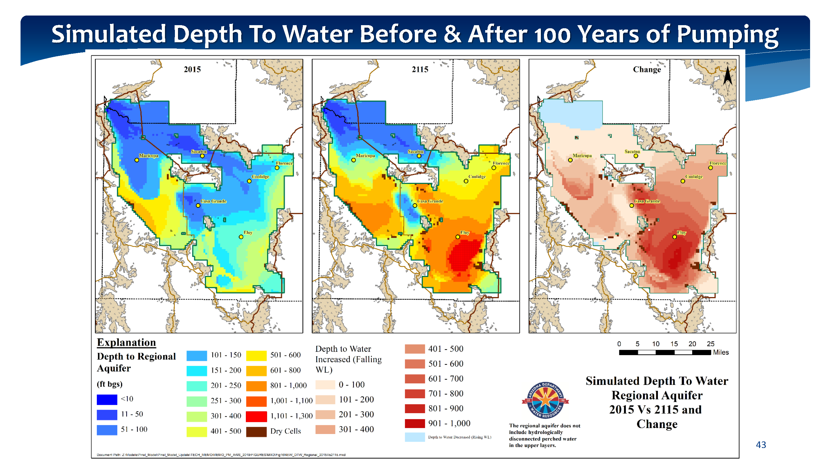 Simulated Depth To Water Before & After 100 Years of Pumping