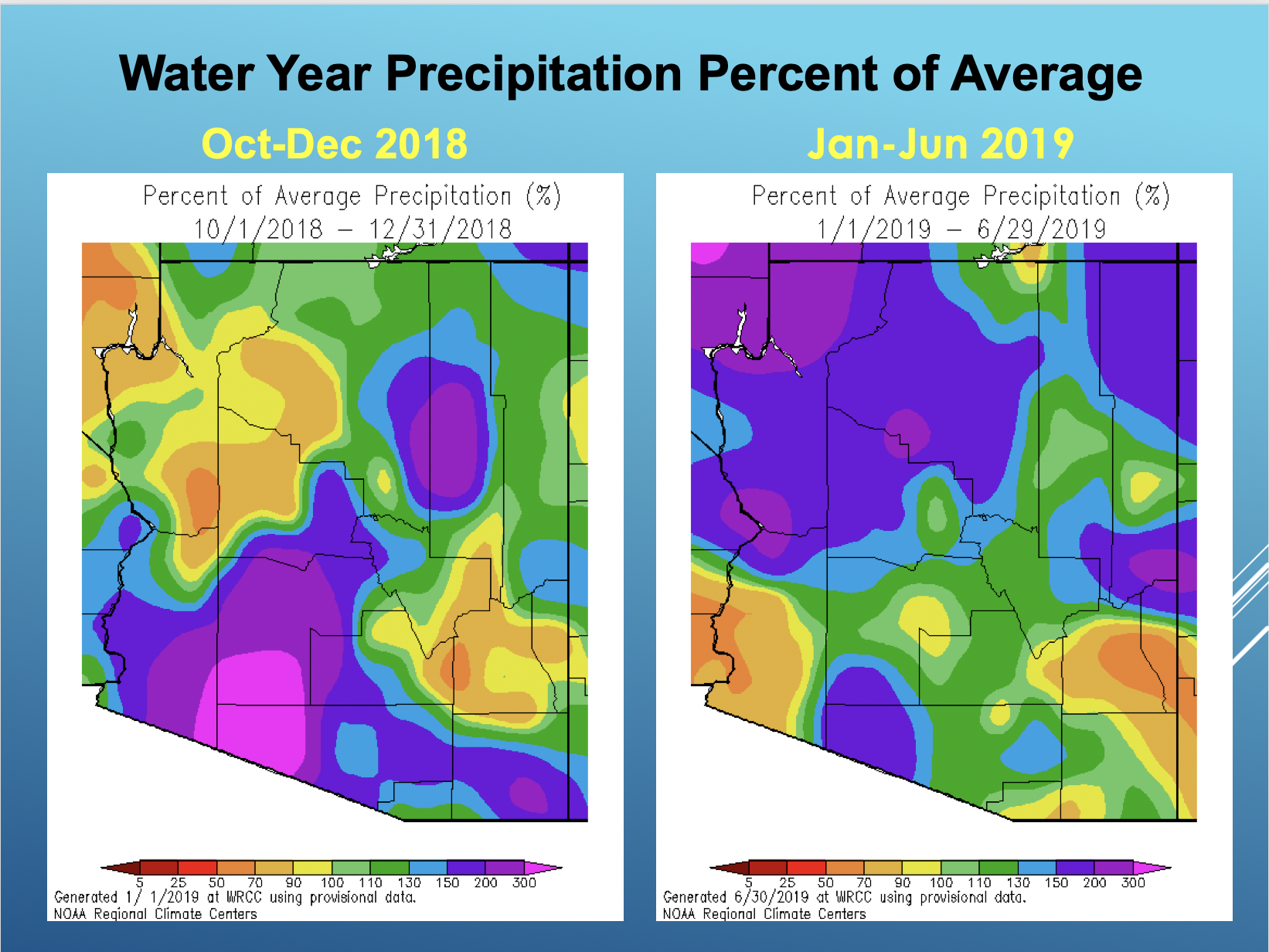 Water Year Precipitation Percent of Average