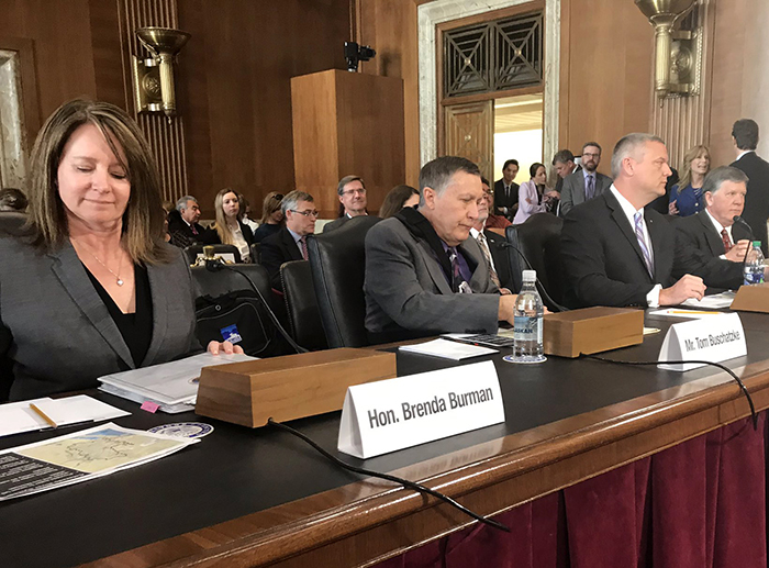 Preparing for testimony before the March 27 Senate Subcommittee on Water and Power: Reclamation Commissioner Burman; Director Buschatzke; John Entsminger, general manager for the Southern Nevada Water Authority; and, Patrick Tyrrell, Wyoming State Engineer