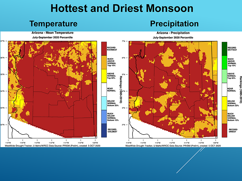 The mean temperature and percent of precipitation during Arizona's hottest and driest monsoon season.