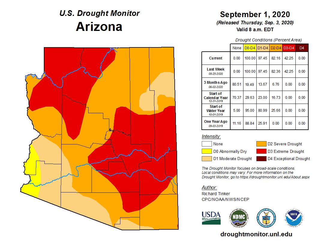 August 2020 Shot-term Drought Status Map