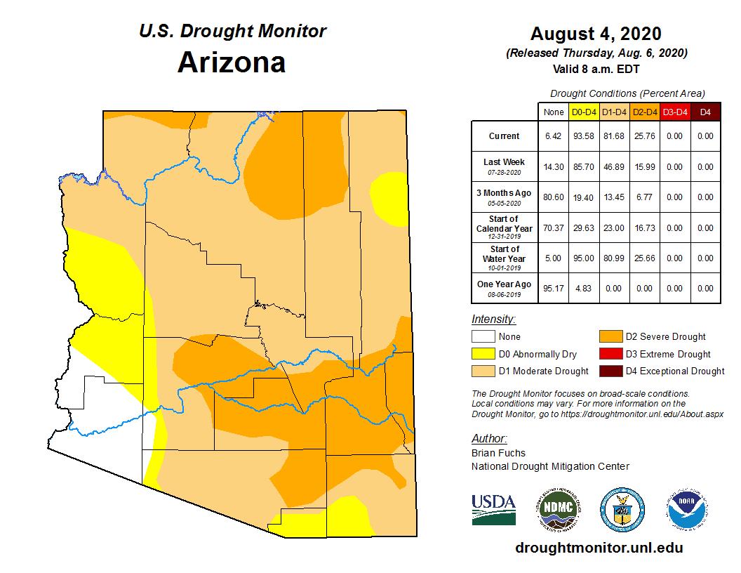 July 2020 Shot-term Drought Status Map