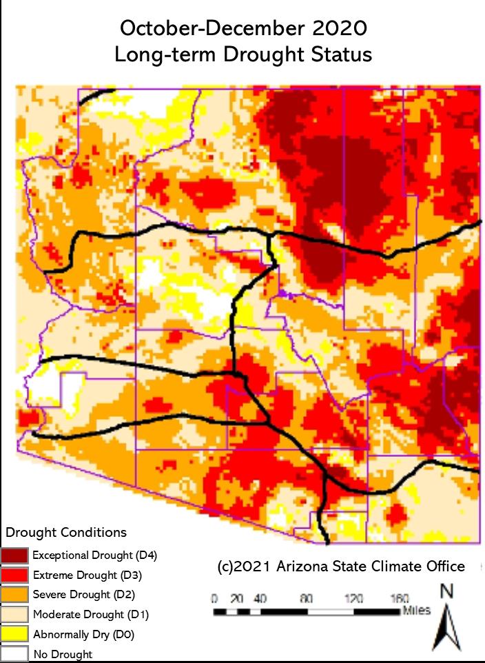 October-December 2020 Long-term Drought Status Map