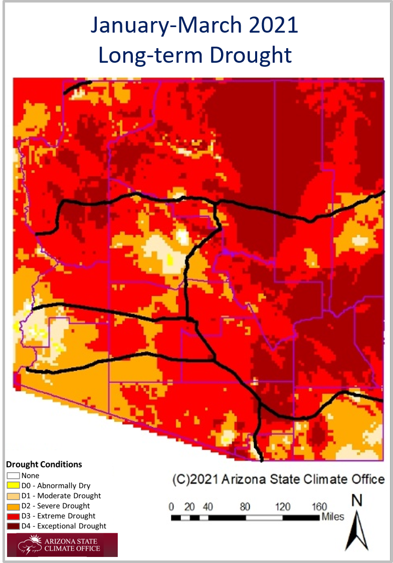 January-March 2021 Long-term Drought Status Map