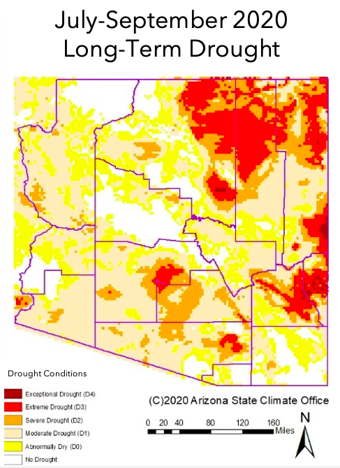 July-September 2020 Long-term Drought Status Map