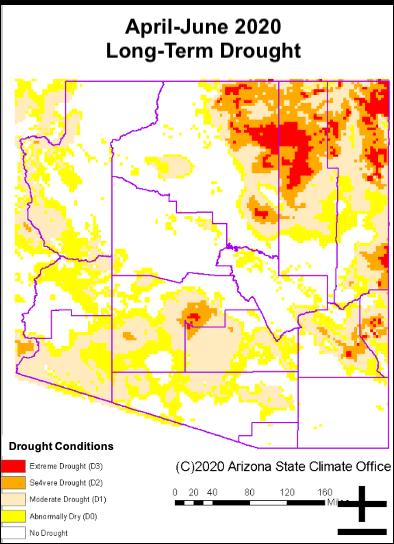 April-June 2020 Long-term Drought Status Map