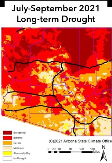 July-September 2021 Long-term Drought Status Map