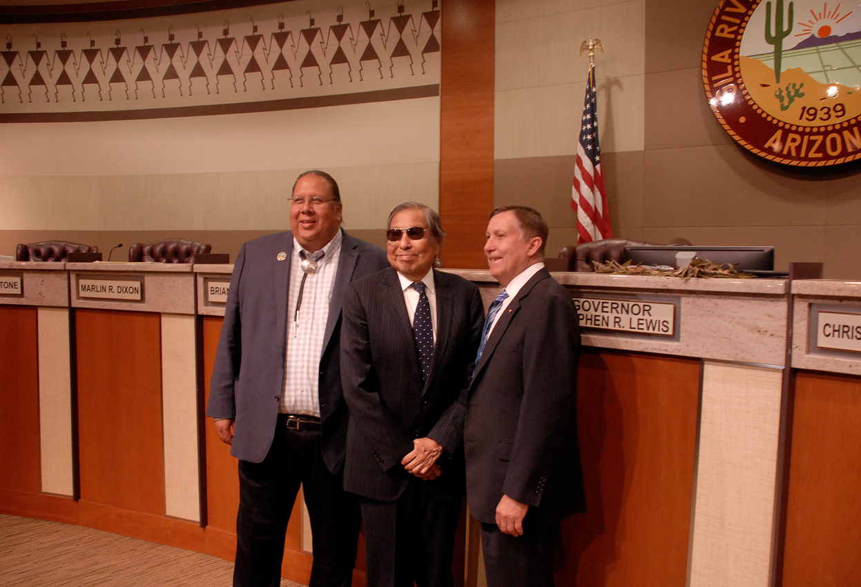 Gila River Indian Community Gov. Stephen Lewis; Rodney Lewis; Arizona Department of Water Resources Director Tom Buschatzke