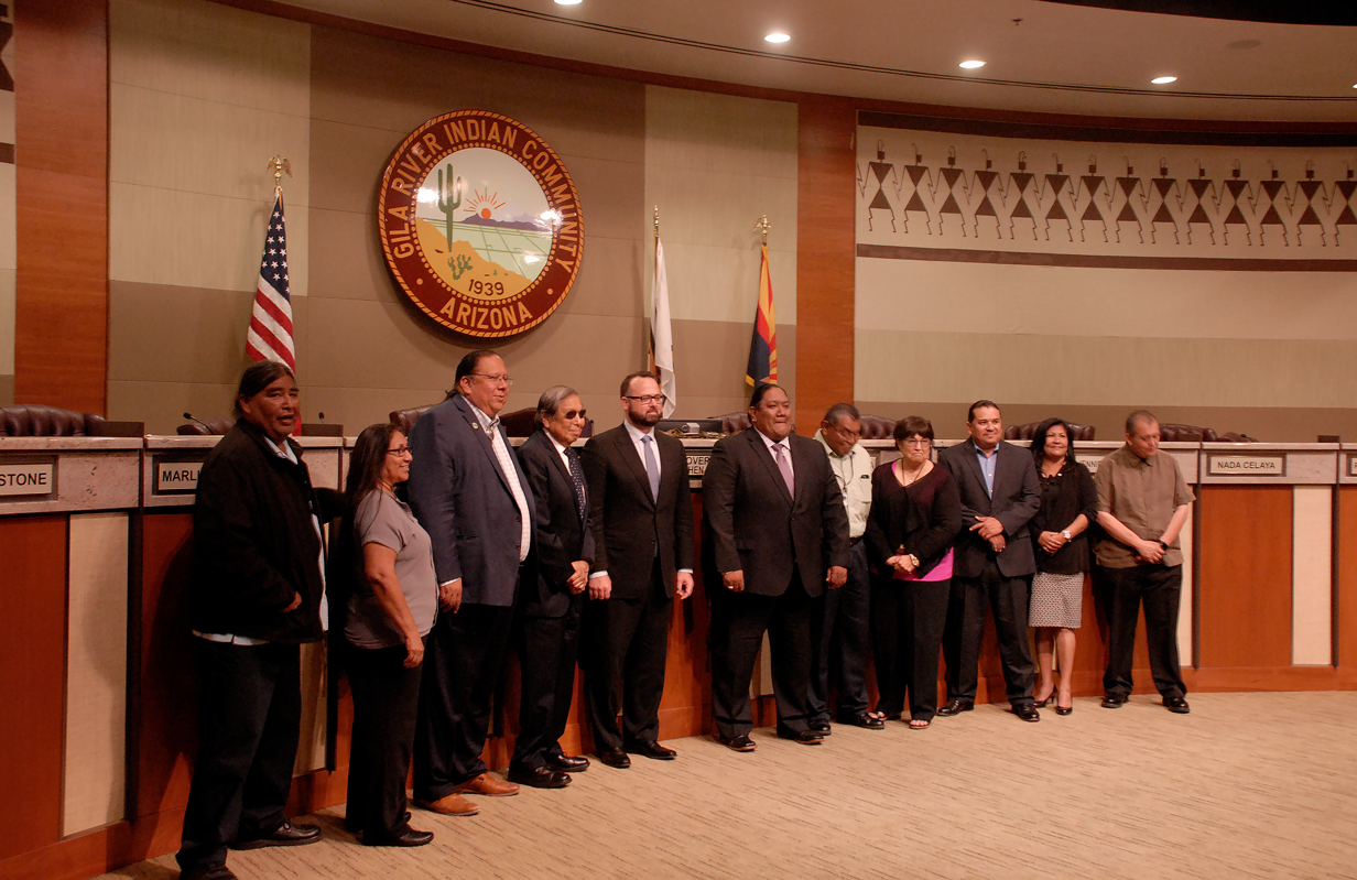 Gila River Indian Community tribal council: GRIC Gov. Stephen Lewis (third from left); Rodney Lewis, newly appointed to the Central Arizona Water Conservation District board (fourth from left); Kirk Adams, chief of staff to Gov. Doug Ducey (fifth from the left)