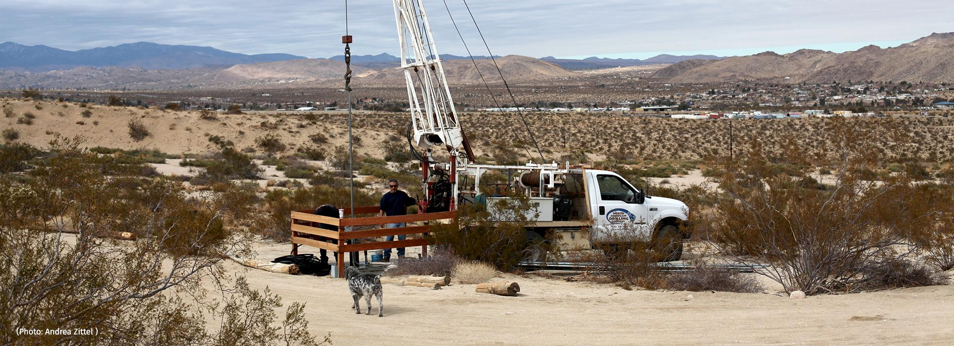 Drill Rig on a Arizona Western Roadway by Andrea Zittel