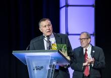 Arizona Department of Water Resources Director Tom Buschatzke delivering his acceptance speech for winning the Governor's Award for Environmental Excellence (Photo courtesy of Arizona Forward)