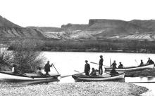 Second Powell Expedition, party in boat ready to start departing. Photo courtesy of Grand Canyon National Park.