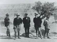 President Theodore Roosevelt and other officials pose in front of the Grand Canyon in 1903. Photo courtesy of the Library of Congress.